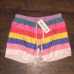 RARE NWT WILDFOX Colorblock Shorts L LARGE